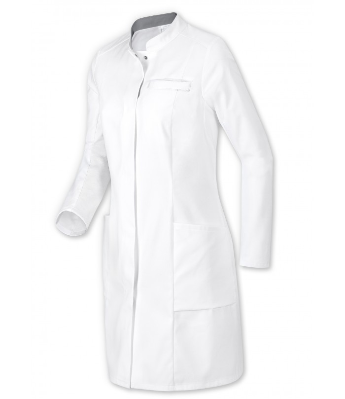 Blouse Medicale Femme Blanche Col Officier Stretch Pressions